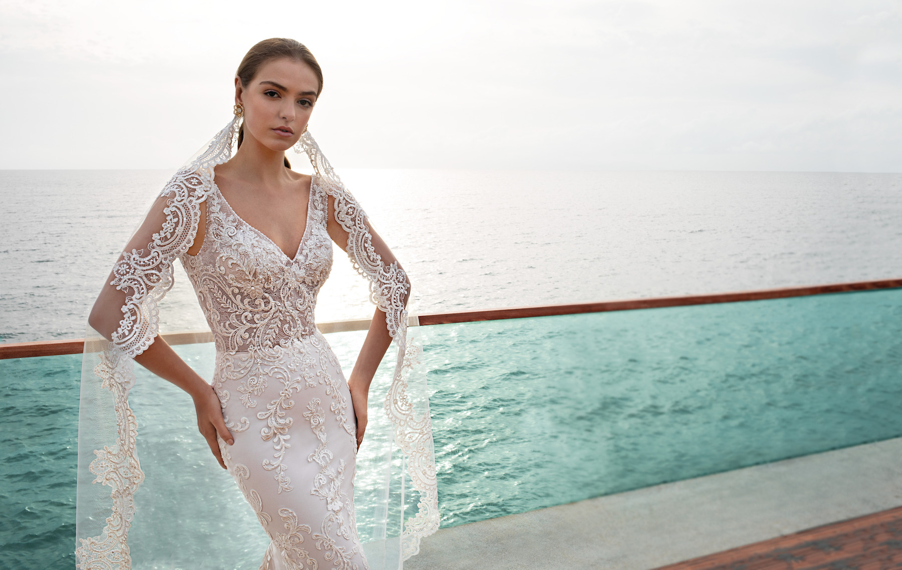 lacework wedding dress veil Demetrios