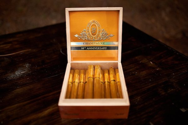 a box of Champagne 10th anniversary cigars in the Bourbon and Cigar lounge