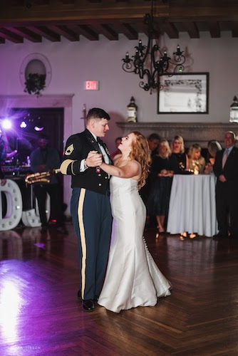 newlyweds dancing their first dane to Death of a Bachelor by Panic! at the Disco.