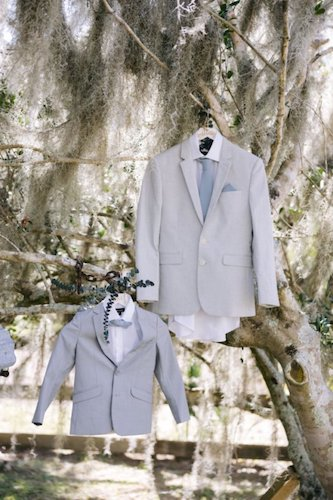 bride and ring bearers light blue grey suits