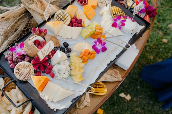 International fruit and cheese display for cocktail hour at Jekyll Island wedding