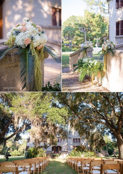 beautiful images of floral decor and wedding ceremony at Jekyll Island's Villa Marianna
