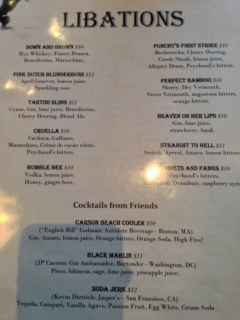 Tavern Road menu