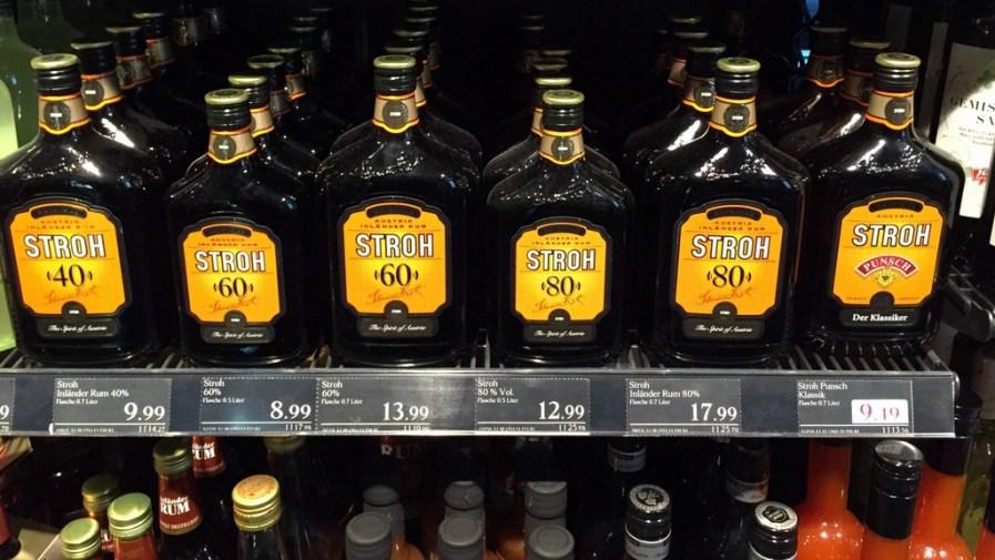 Stroh on the supermarket shelves, Vienna, Austria