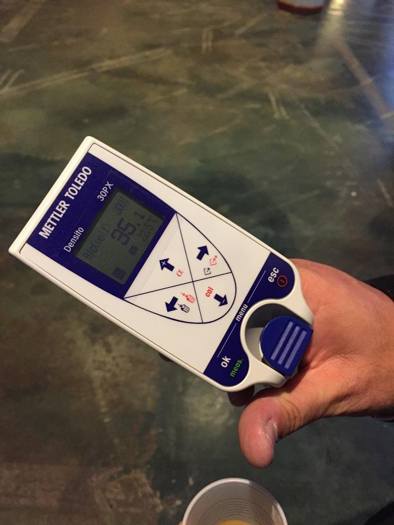 Richard Seale measuring ABV