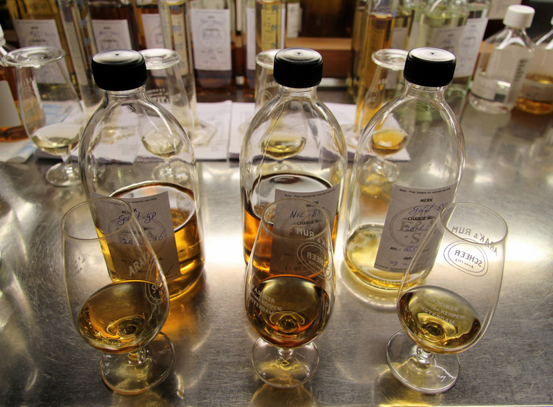 Rum samples at E&A Scheer, Amsterdam