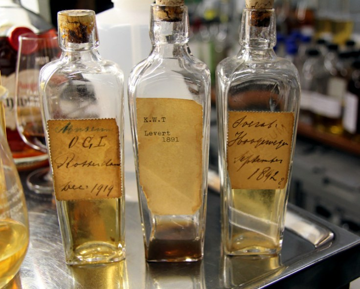 Seriously old rum sample bottles at E&A Scheer, Amsterdam