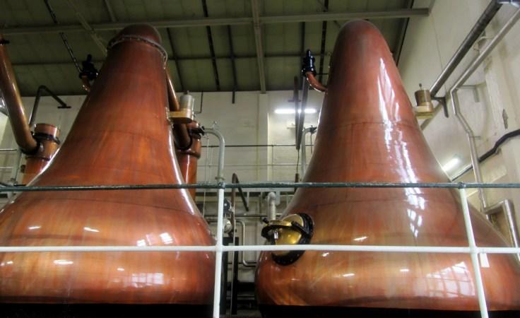 Pear shaped spirit stills at Lagavulin