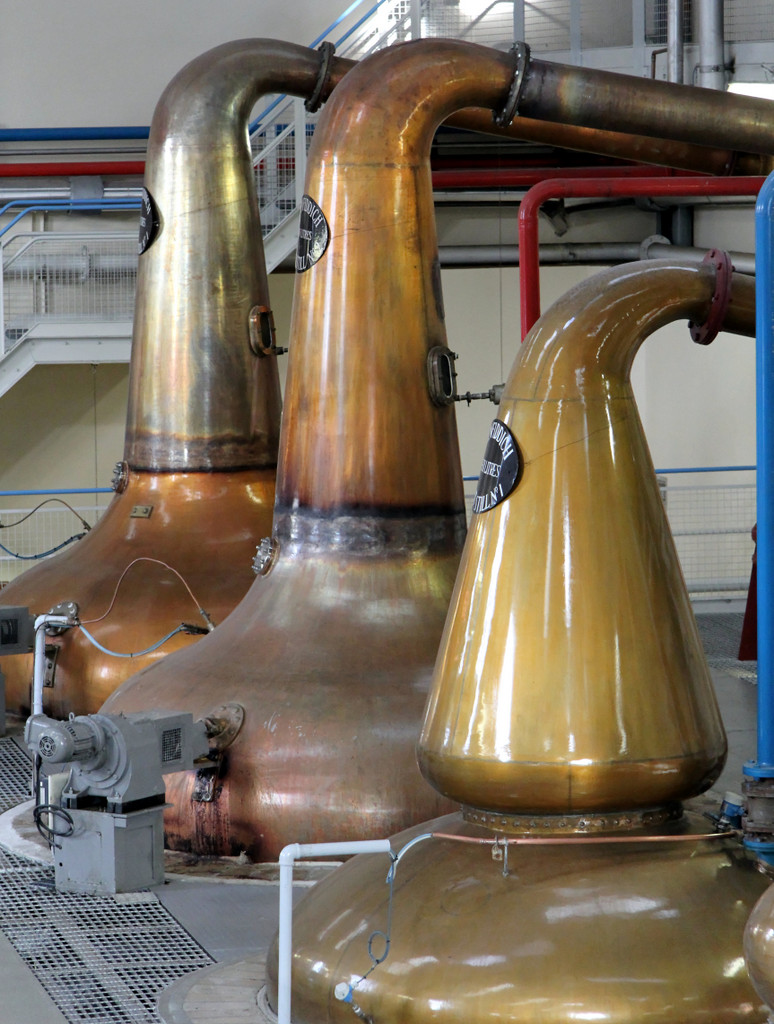 Pot still with rummager drive motor at Glenfiddich