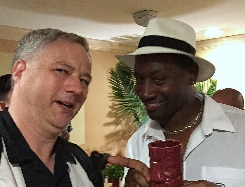 "Cocktail Wonk and Ian ""Rum Ambassador Burrell at the Plantation OFTD launch at Tales of the Cocktail 2016."