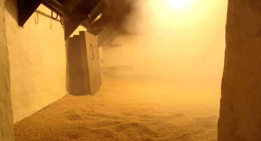 Malt being infused with peat smoke at Laphroaig distillery