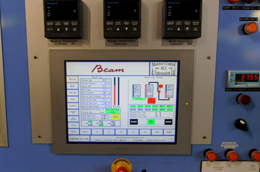 Mash operations console at Laphroaig distillery