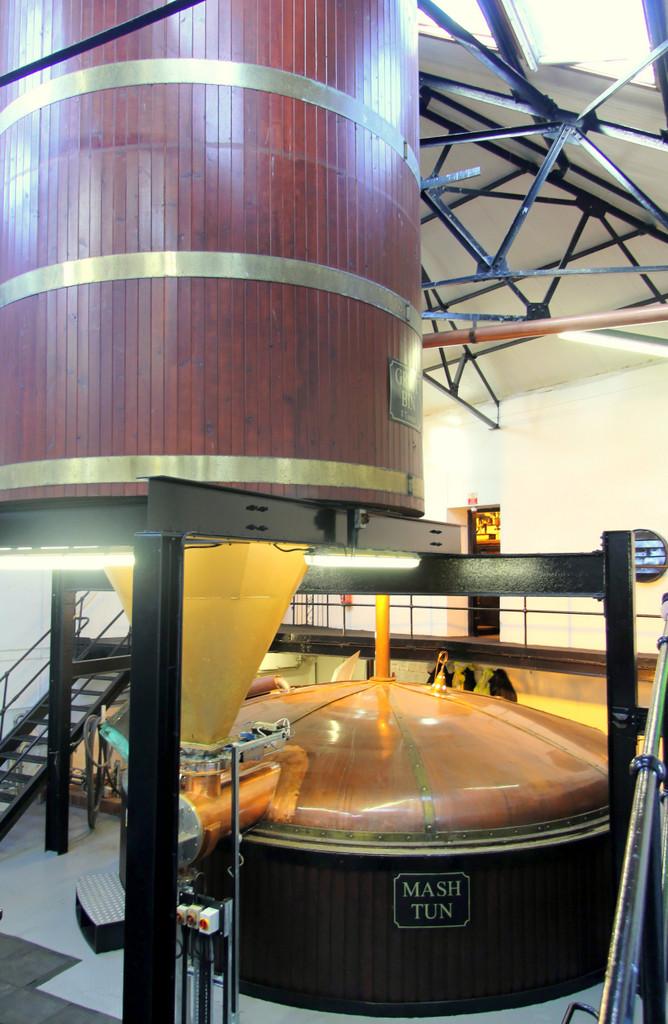 Grist bin and mash tun, Bowmore distillery
