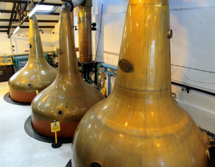 Pot stills at Bowmore distillery