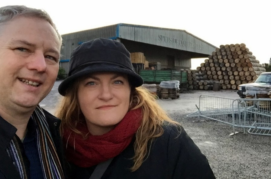 Cocktail Wonk, and the brains behind the operation, Mrs. Wonk, at Speyside Cooperage in Scotland.