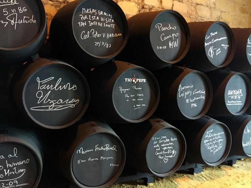 Signed casks at González Byass