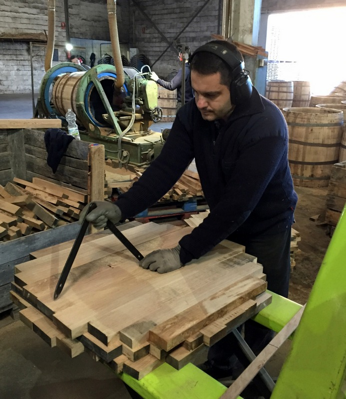 Selecting and measuring staves for a cask end, Antonio Páez Lobato cooperage