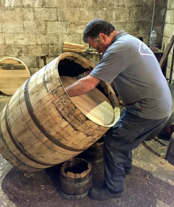 Pulling a cask head into place, Antonio Páez Lobato cooperage
