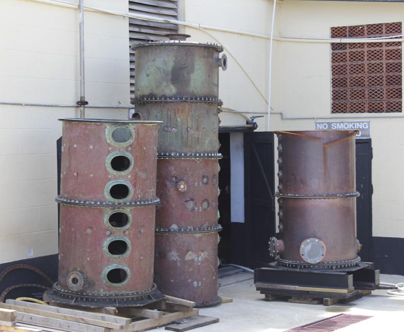 Mount Gay distillery column still pieces