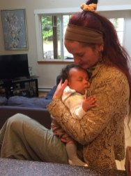 Lou Ellis and child