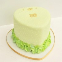 Golden Wedding Anniversary Heart Cake with Sugar Leaves & Piped Dots by Cocoa & Whey Cakes in Winchester