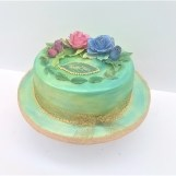 Green Watercolour & Sugar Roses Cake by Cocoa & Whey Cakes in Winchester, Hampshire