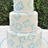Blue & White Brush Embroidery Wedding Cake by Cocoa & Whey Cakes in Winchester, Hampshire