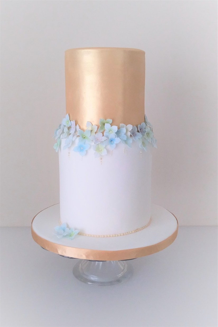 Gold and Sugar Hydrangea Blossom Wedding Cake by Cocoa and Whey Cakes
