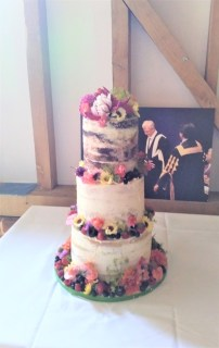 Semi-Naked Wedding Cake with Edible Flowers and Fruits
