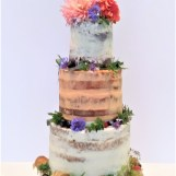 Sweet and Savoury Tiered Cake with Edible Flower Decoration