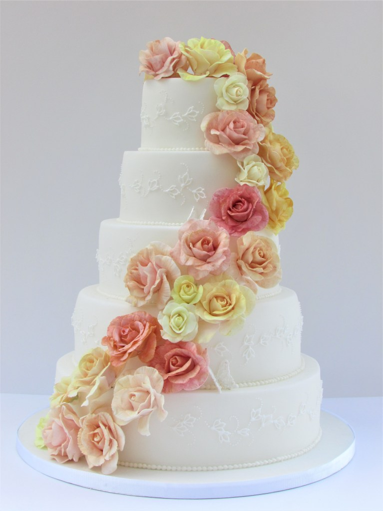 Sugar Rose & Piped Lace Cascade Wedding Cake by Cocoa & Whey Cakes
