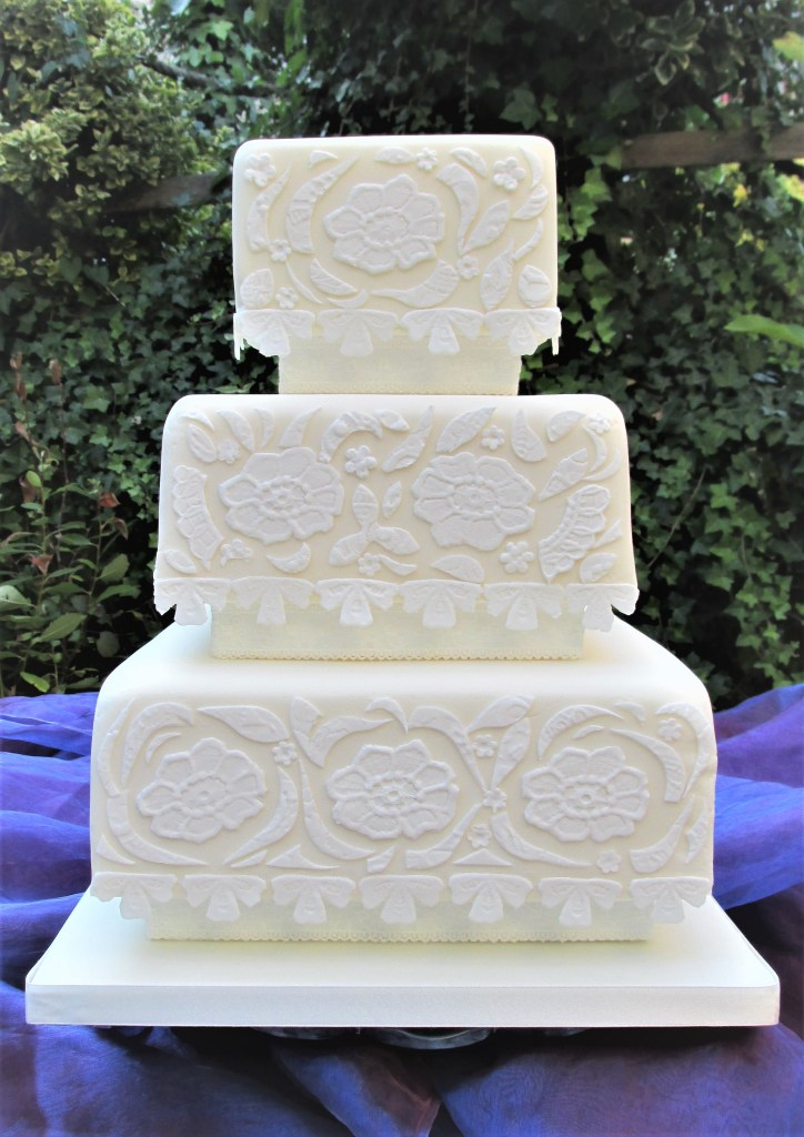 Cream Lace Applique Wedding Cake by Cocoa & Whey Cakes