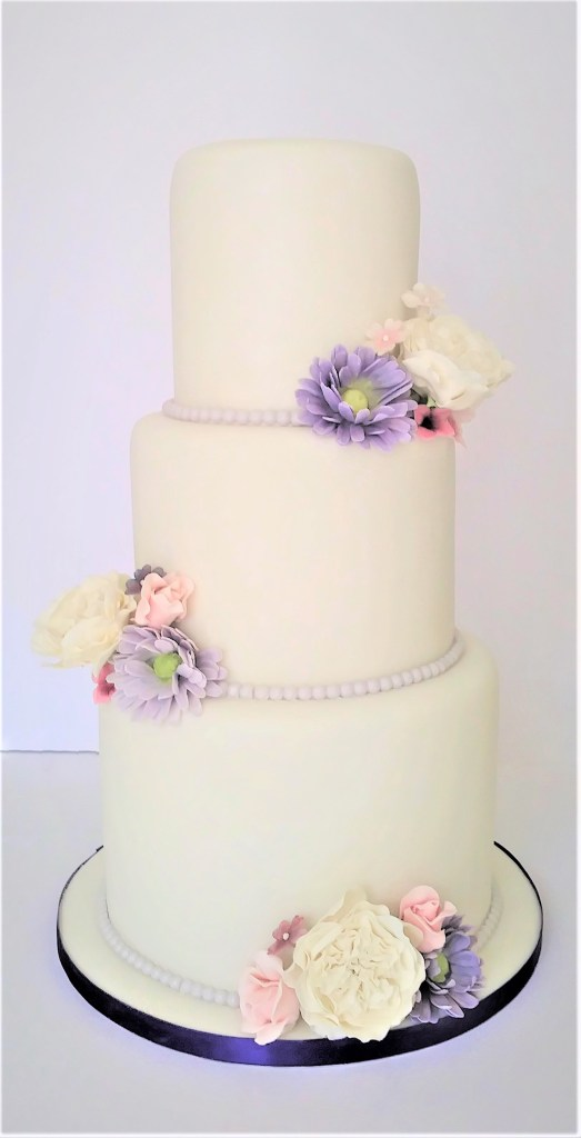 Sugar Gerberas, Blossoms & Peonies Wedding Cake by Cocoa & Whey Cakes