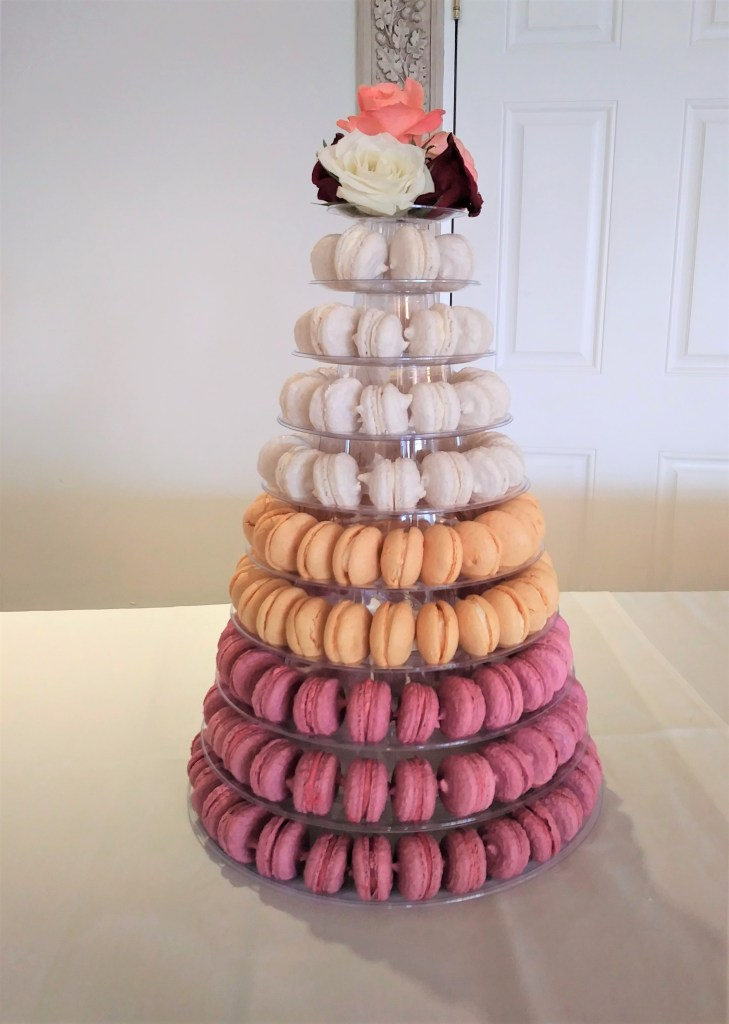 Raspberry, Apricot & Marc de Champagne Macarons Tower
