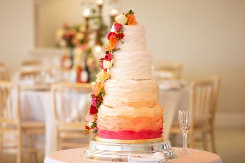 Ombre Ruffles Wedding Cake with Fresh Flowers by Cocoa & Whey Cakes in Dorset - Photo Courtesy of Anthony Clark Photography