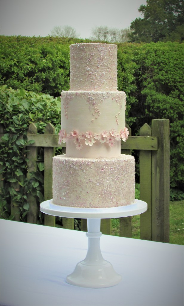 Pink Cherry Blossom Wedding Cake by Cocoa & Whey Cakes