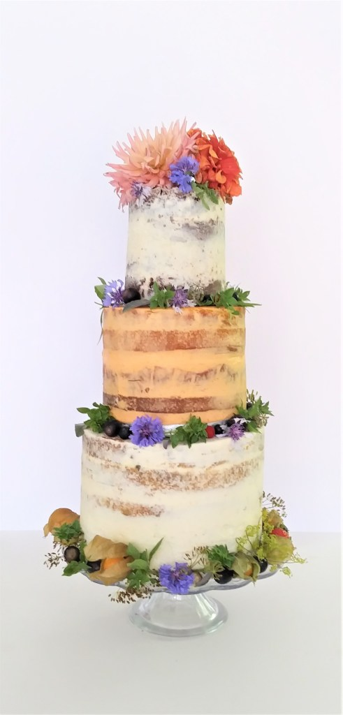 Sweet & Savoury Tier Combination Wedding Cake with Edible Flowers by Cocoa & Whey Cakes