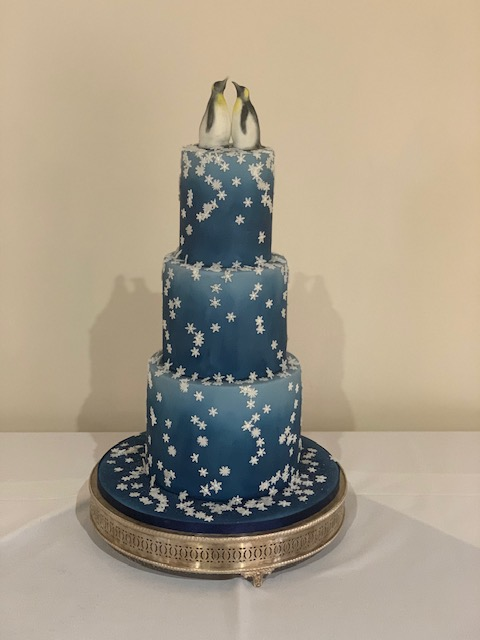 Blue Snowflake & Penguins Wedding Cake by Cocoa & Whey Cakes