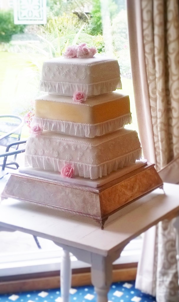 Gold & White Square Wedding Cake with Rose Lace