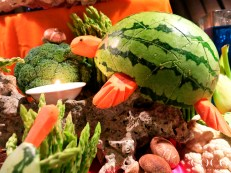 Creative turtle food carvings by chefs of Coco Palm Dhuni Kolhu