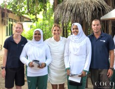 Chiara, the Manta Trust biologists, and some of the lucky winners of the day