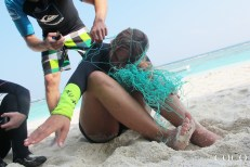 Jade and Manish trying how it feels to be entangled in a net at Coco Palm Dhuni Kolhu