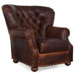 Leather Wingback Rolled Arm Chair Wingback Accent Chair