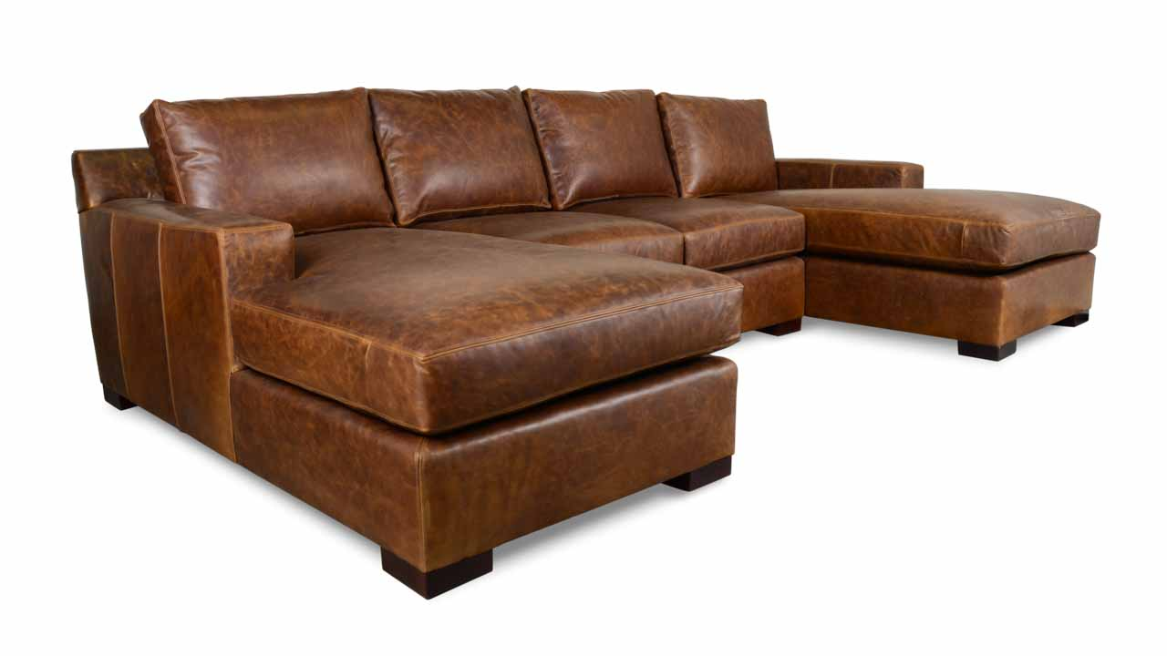durham double chaise u shaped transitional leather sectional
