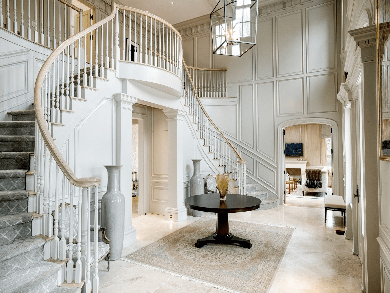 Grey Foyer Paneled Walls Double Staircase Cococozy Greenwich Estate