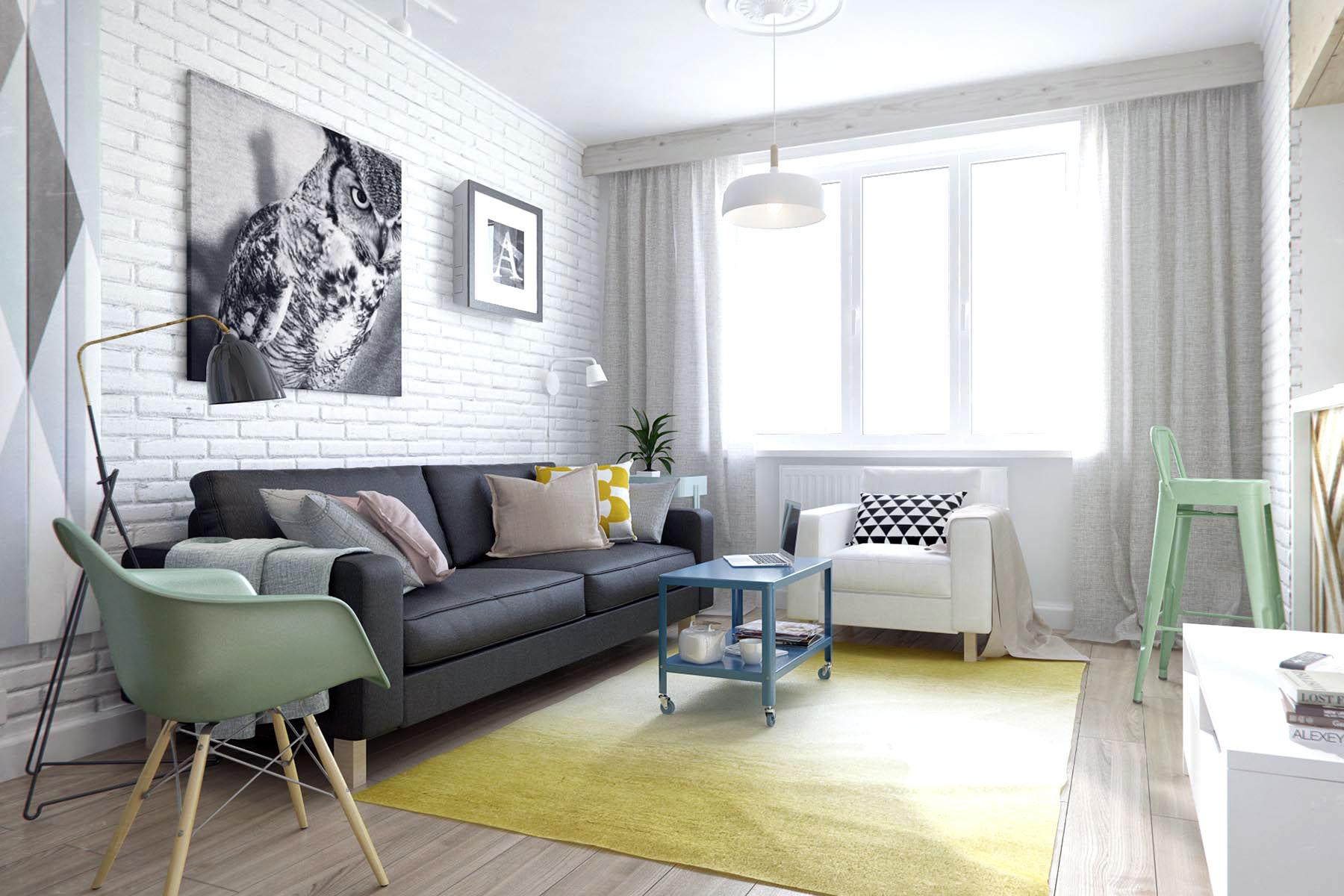 Small russian studio apartment 500 square feet in pastel for Small studio living