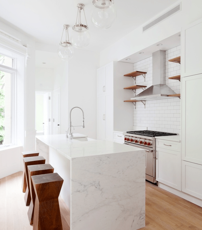 Kitchen island with marble waterfall counter & 7 SLEEK WATERFALL KITCHEN ISLAND COUNTERS | COCOCOZY