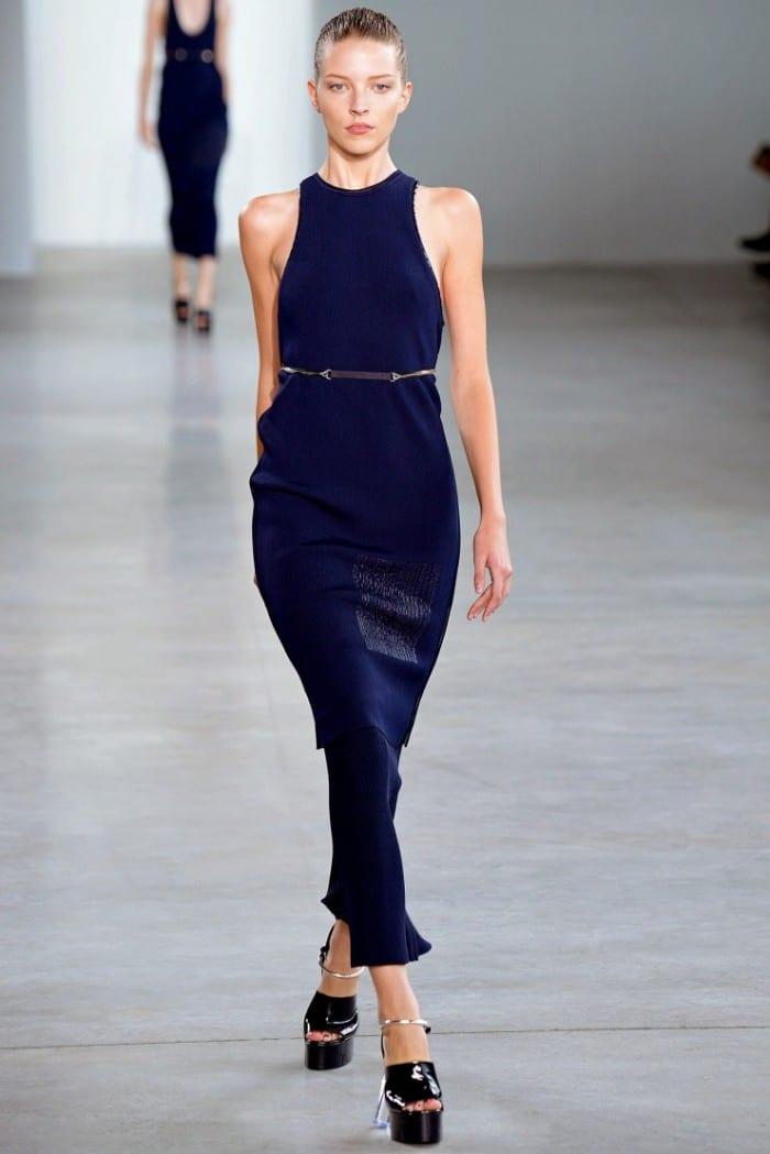 Best Dresses Calvin Klein Dark Blue Pencil knit sleeveless dress