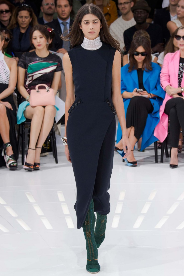 Best Dresses Blue Chritian Dior wth green boots spring summer 2015
