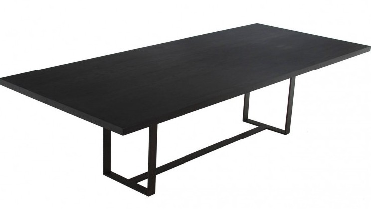 Ebonized wood dining room table steel base